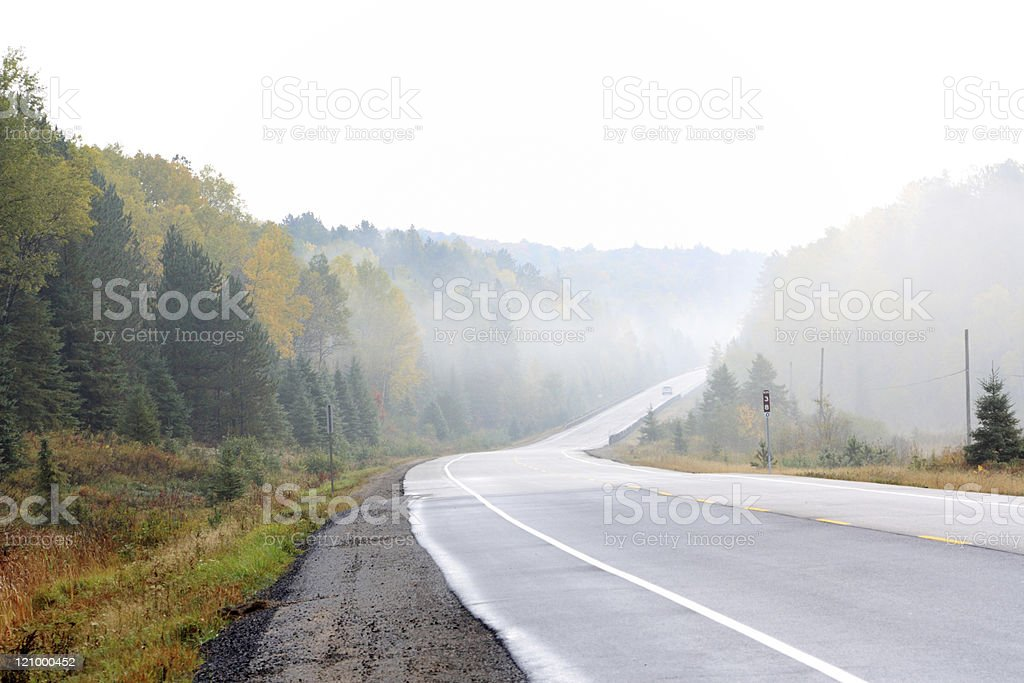 A foggy highway through a forest. royalty-free stock photo