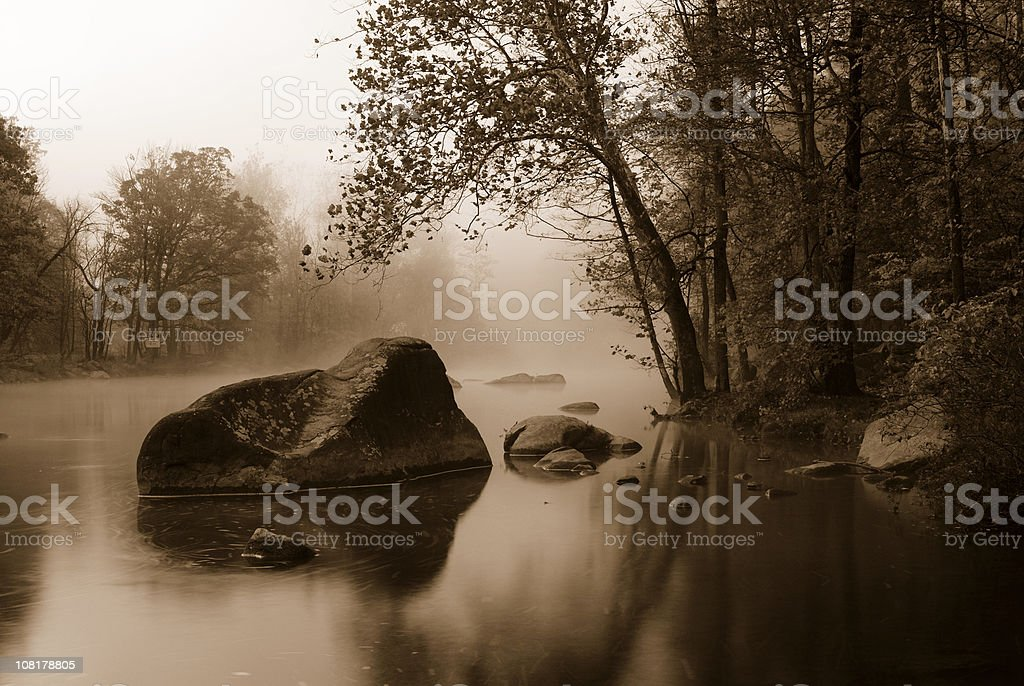 Foggy Lake at Green Lane Park, Sepia Toned royalty-free stock photo