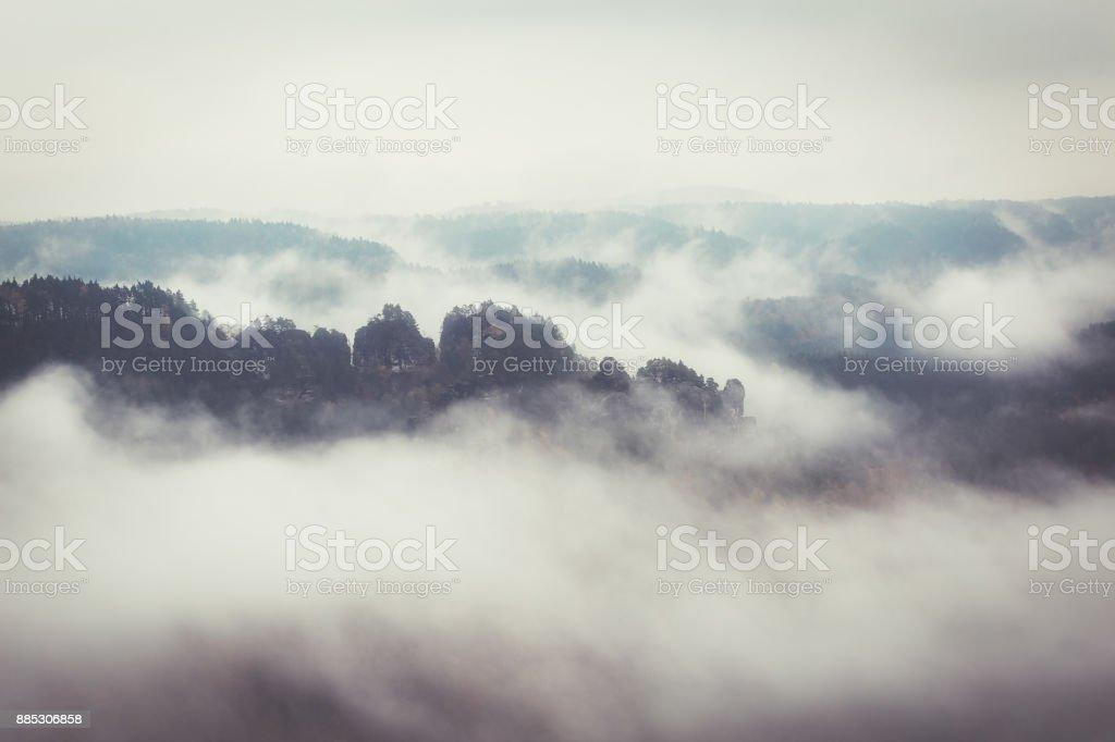 Foggy landscape in saxon switzerland stock photo