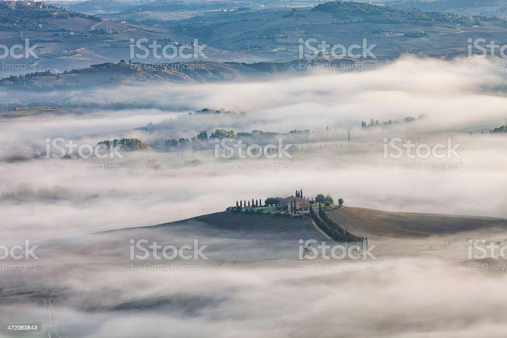 Foggy Landscape, Tuscany, Italy royalty-free stock photo