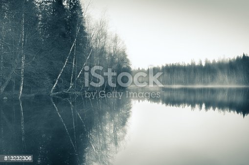 istock Foggy landscape with gloomy mood and lake at toned photo 813232306