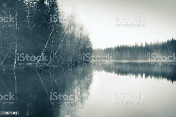 Photo of Foggy landscape with gloomy mood and lake at toned photo