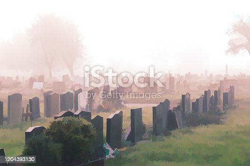 Foggy winter cemetery given a painterly effect that emphasises the nearby memorial stones and fades away into a cold mist. Painterly effect.