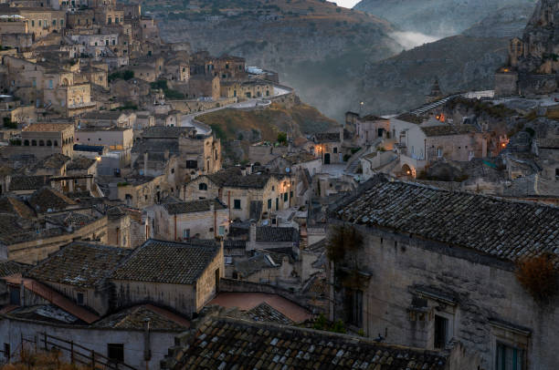 Foggy morning at Sassi di Matera stock photo
