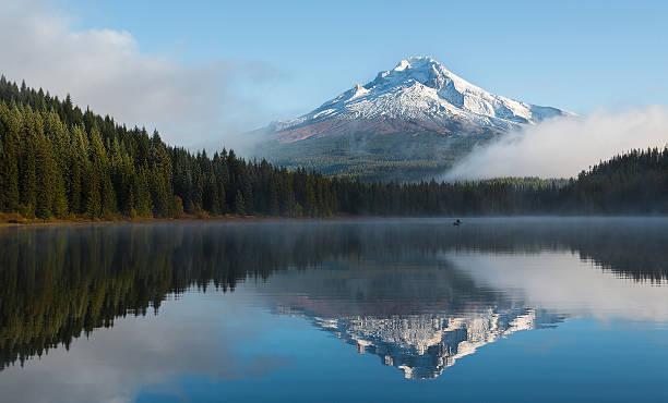 Foggy Morning at the Lake stock photo