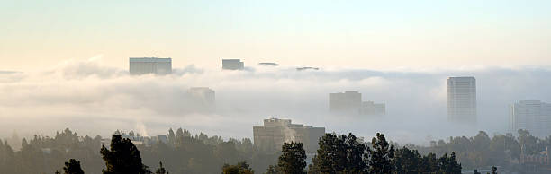 foggy morning city-scape Wide angle view of Westwood Village on a foggy gray summer morning. ucla stock pictures, royalty-free photos & images