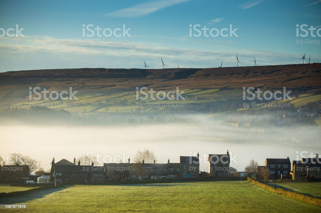 Foggy Morning in Oxenhope, West Yorkshire stock photo