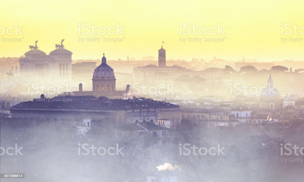 Foggy morning in Rome, view from view from Gianicolo (Janiculum) hill stock photo