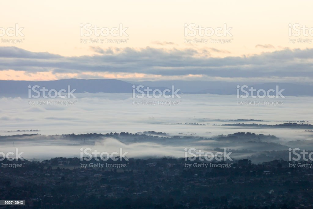 Foggy Morning Of A Rural Area - Royalty-free Aerial View Stock Photo