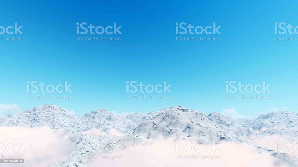 Foggy morning on the mountains 3D rendering stock photo