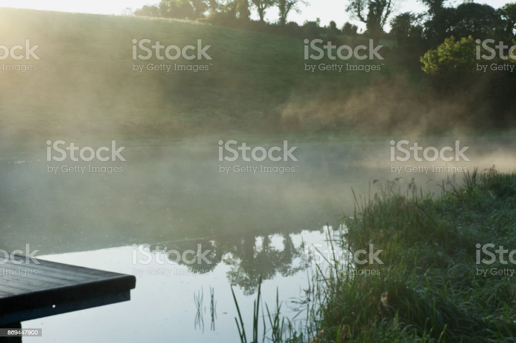Foggy morning on the river Erne stock photo