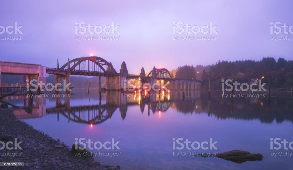 Foggy morning Siuslaw River Bridge stock photo