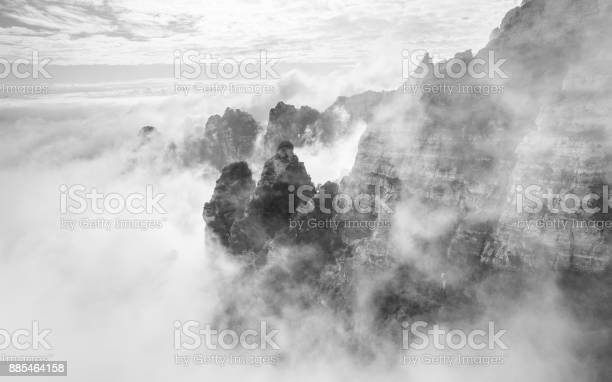 Photo of Foggy Mountain in White and Black