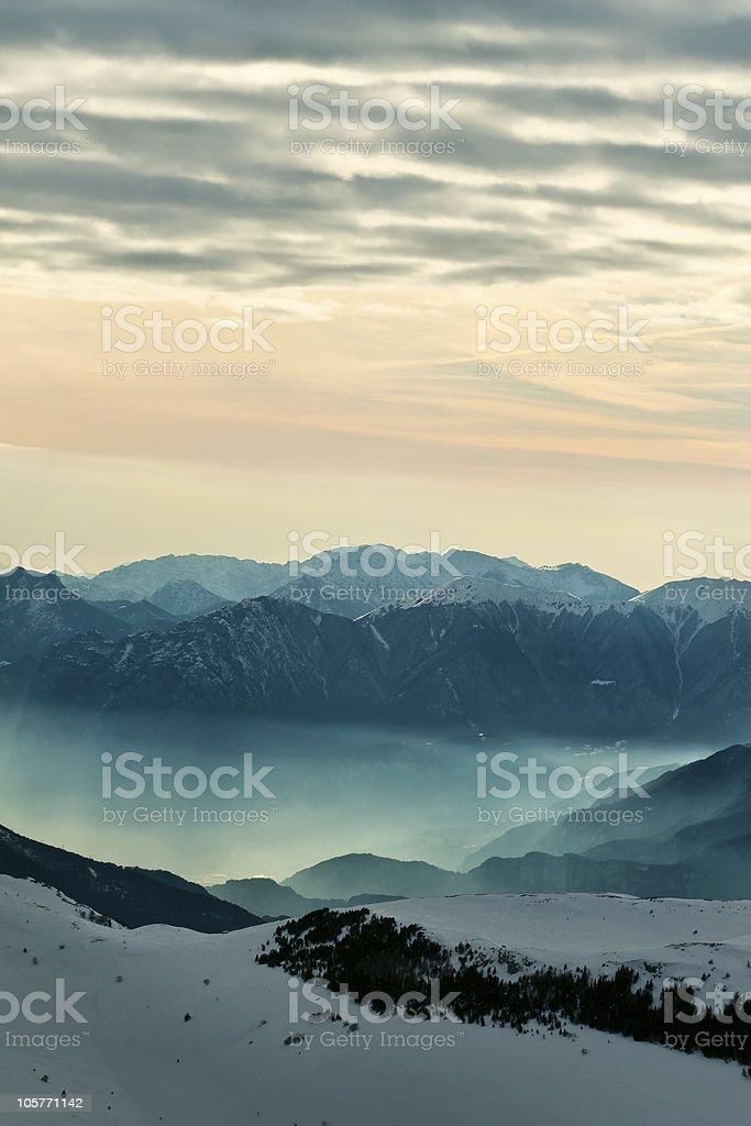 Foggy mountain scenery royalty-free stock photo