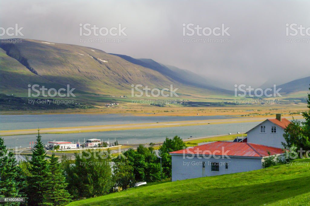 Foggy mountainview in Iceland stock photo