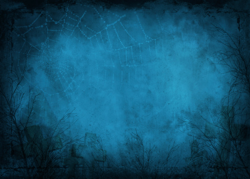 Halloween background with cobweb and graveyard in blue tones