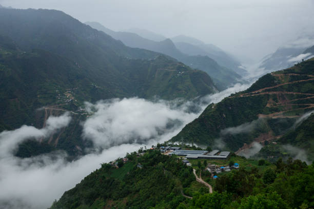 Foggy Nu River Valley stock photo