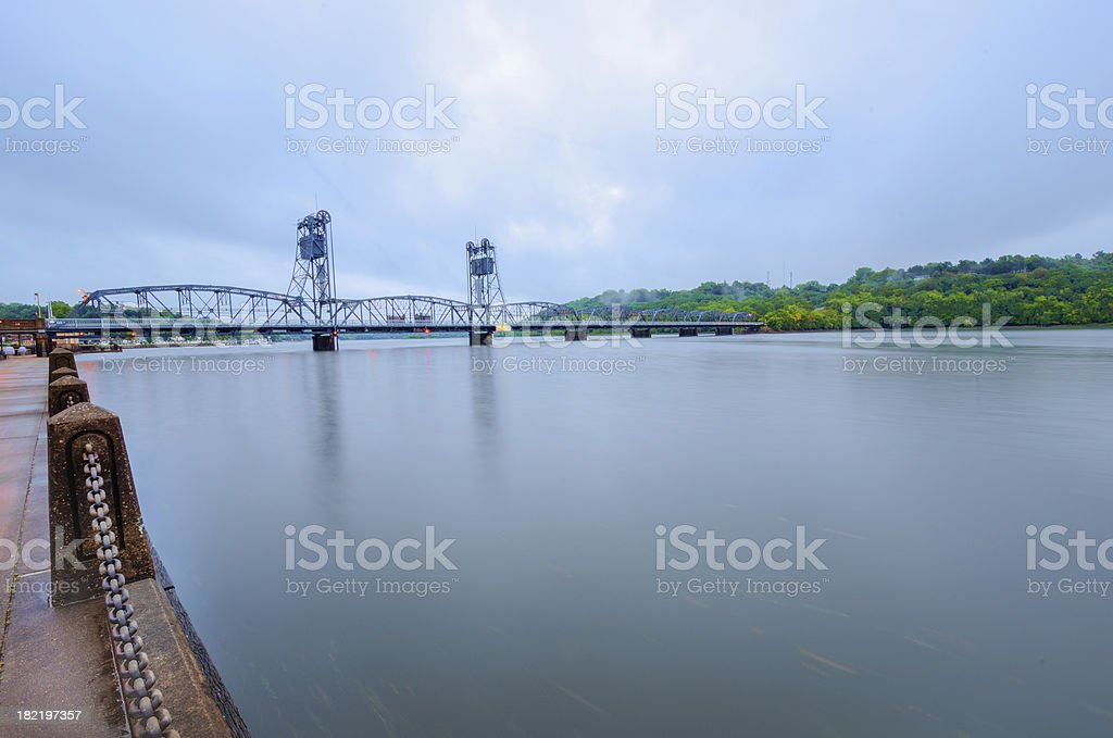 Foggy overcast morning stock photo