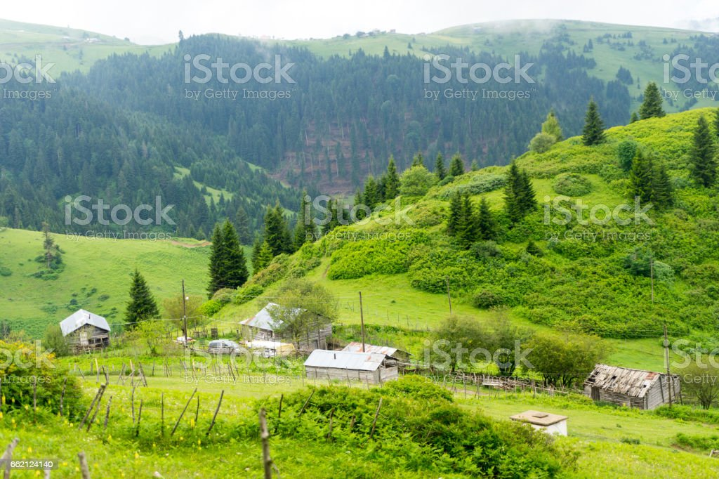 Foggy Plateau Highland with Giresun - Turkey royalty-free stock photo