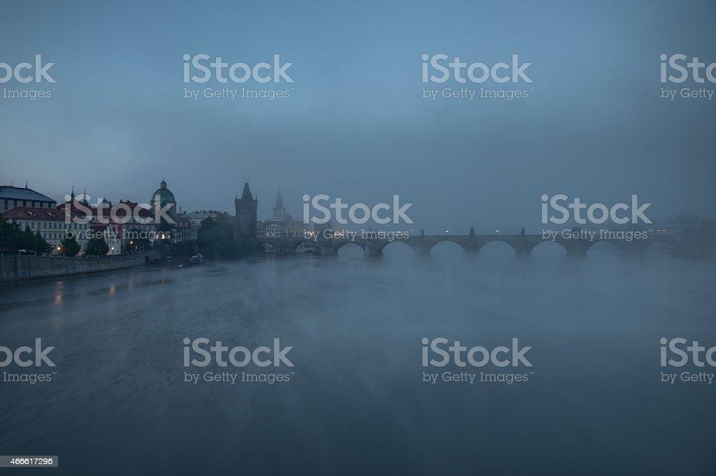 Foggy Prague stock photo