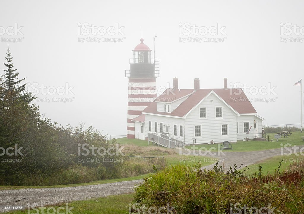 Foggy Quoddy Head Lighthouse stock photo