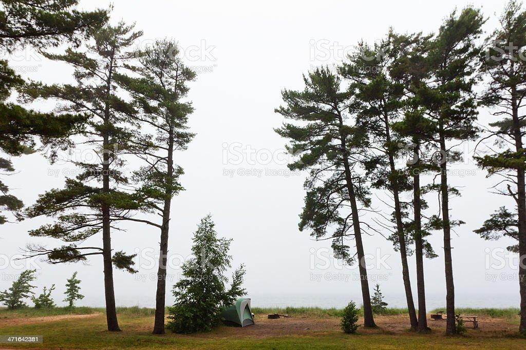 Foggy Remote Campsite on Lake Superior stock photo