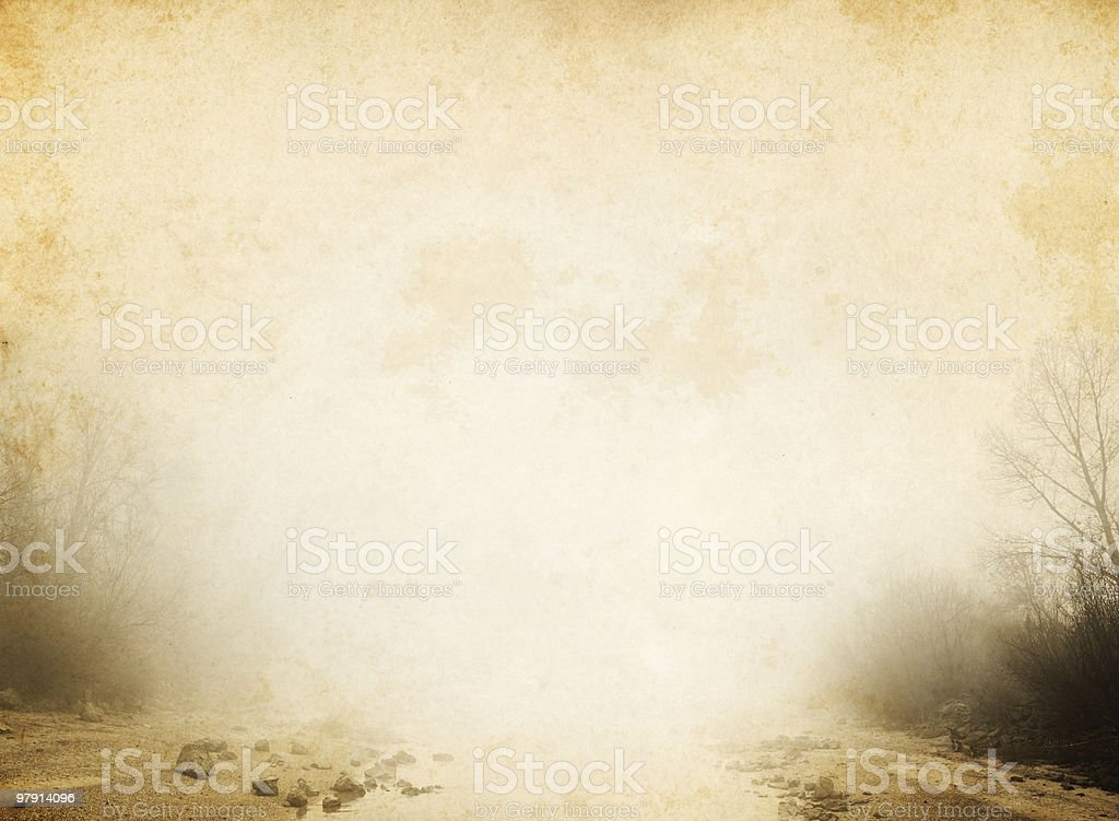 foggy river on old paper background royalty-free stock photo