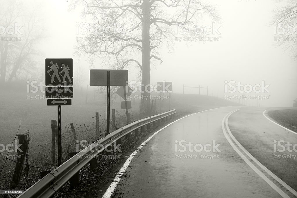 Foggy road and Appalachian Trail sign near Shady Valley Tennessee royalty-free stock photo