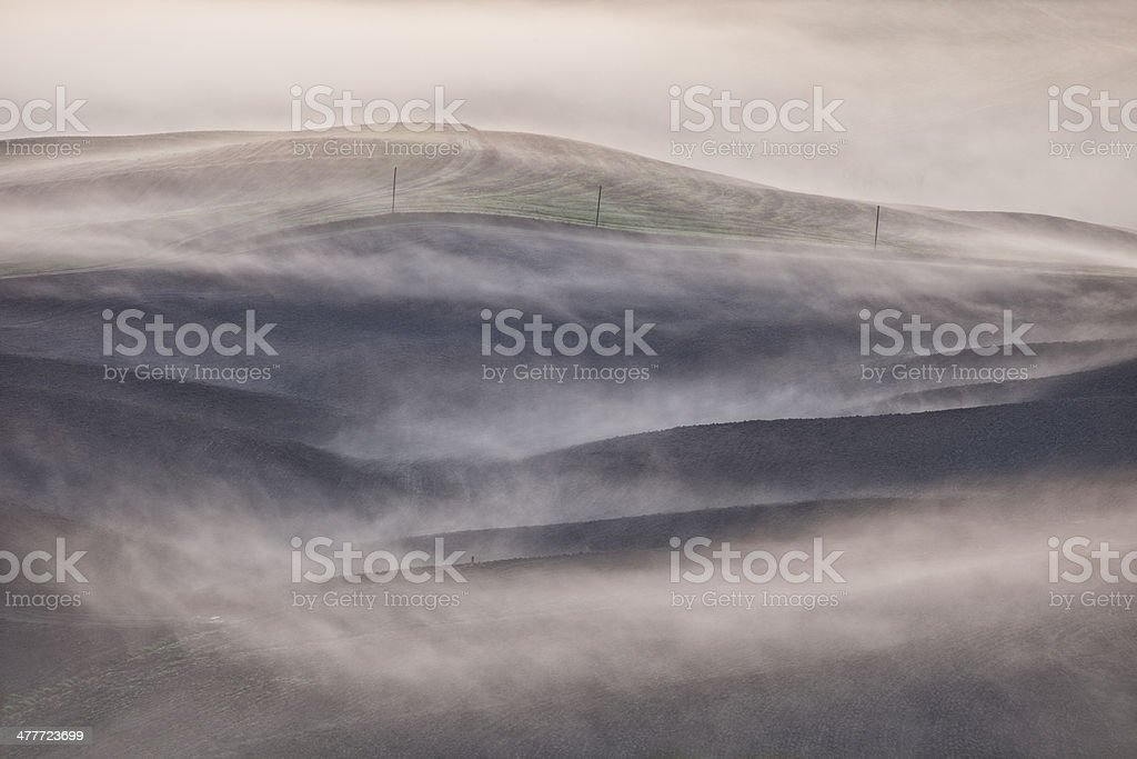 Foggy Rolling Landscape, Tuscany, italy royalty-free stock photo