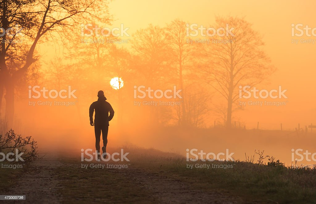 Foggy run stock photo