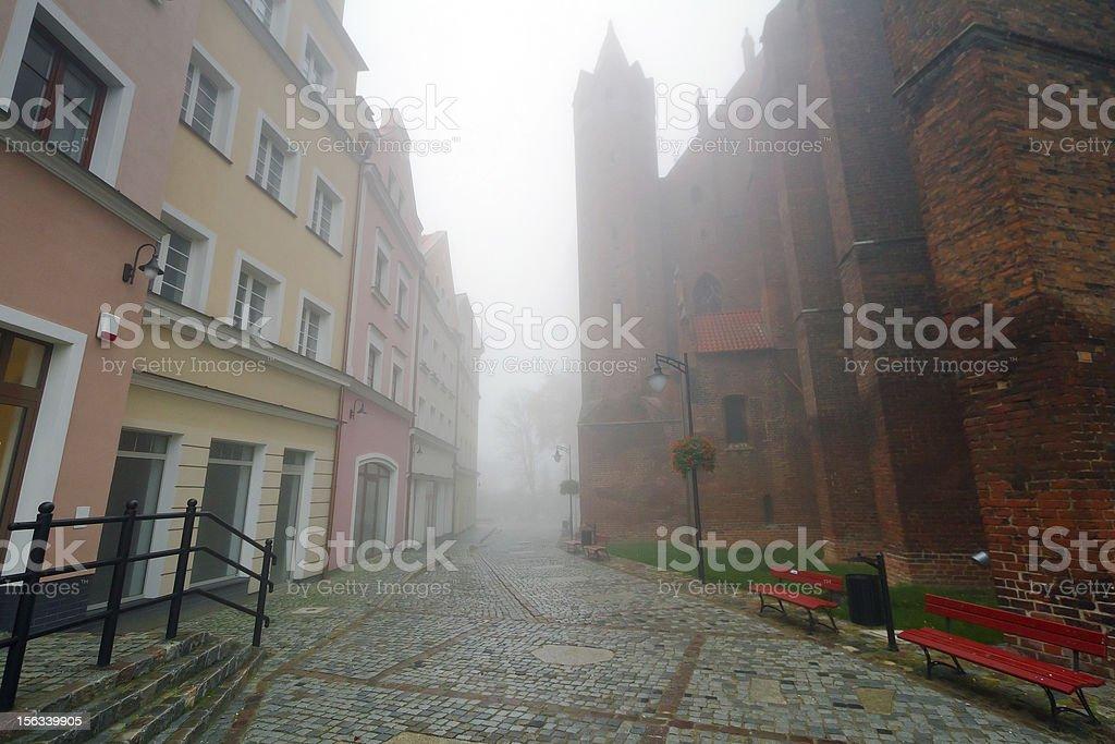 Foggy scenery of Kwidzyn old town royalty-free stock photo