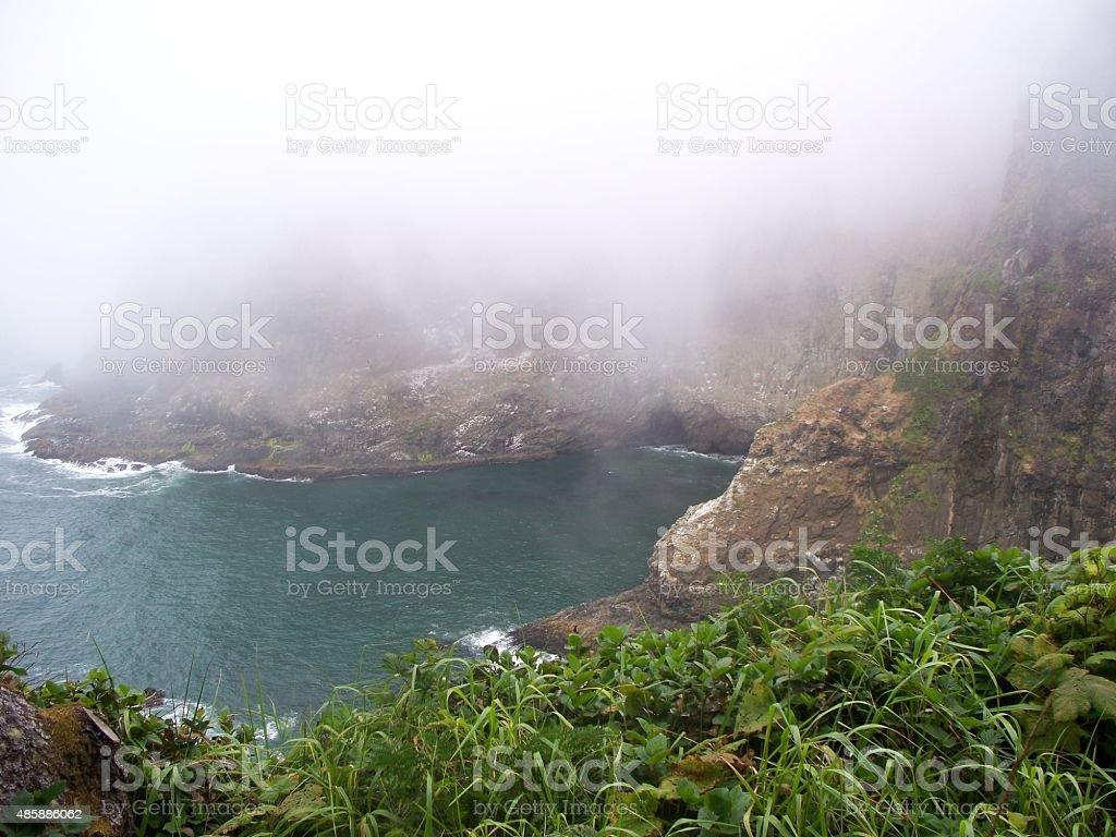 Foggy Sea Cave stock photo