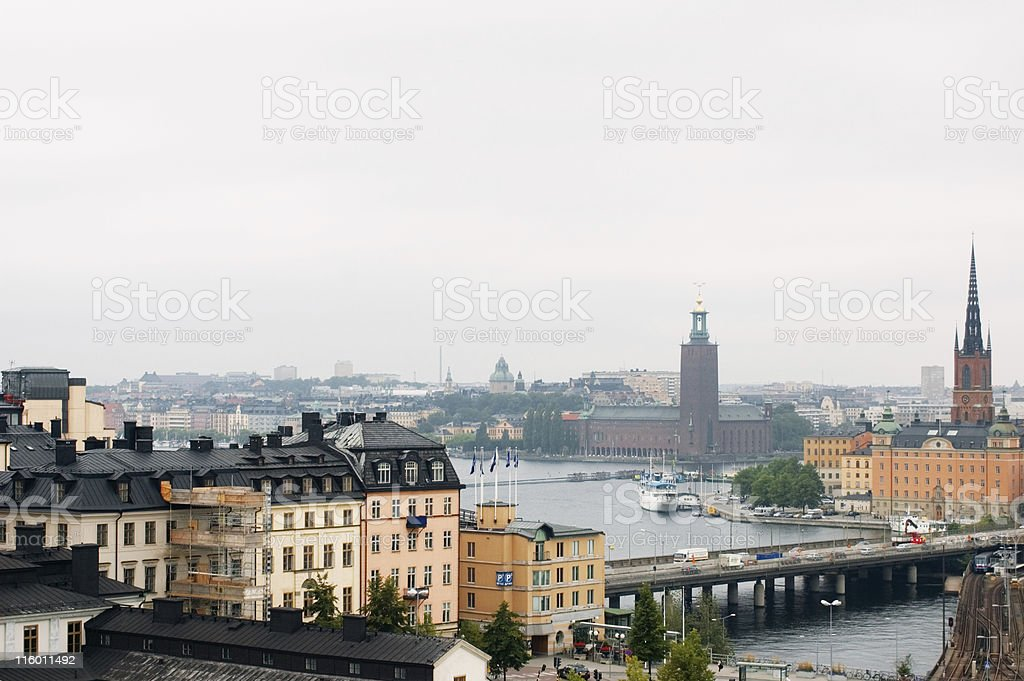 foggy stockholm stock photo