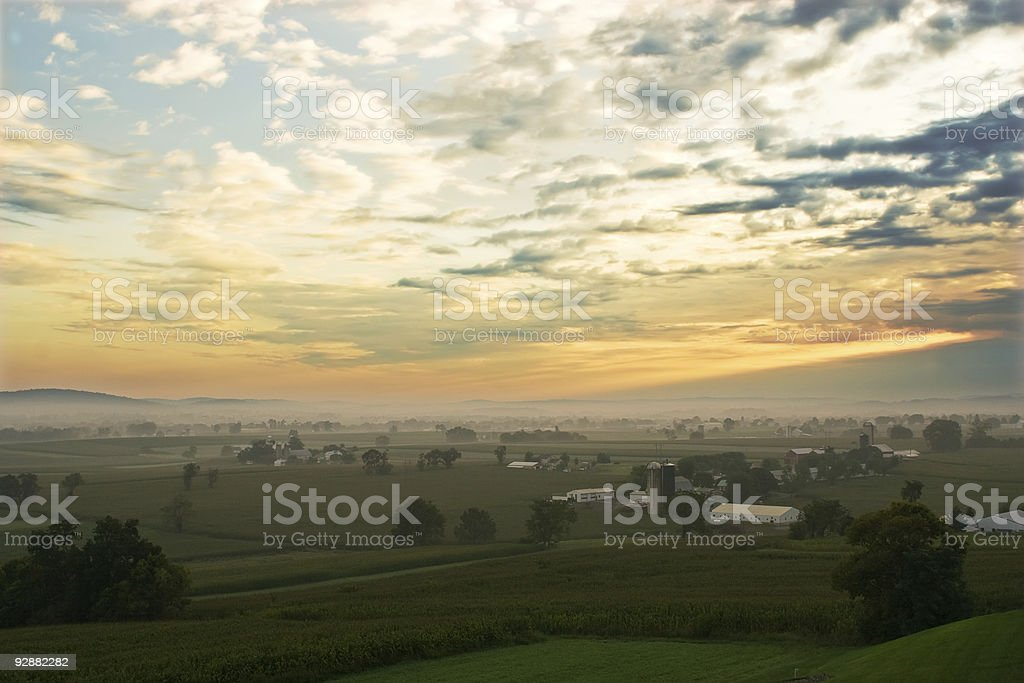 Foggy sunrise in Lancaster County, Pennsylvania stock photo
