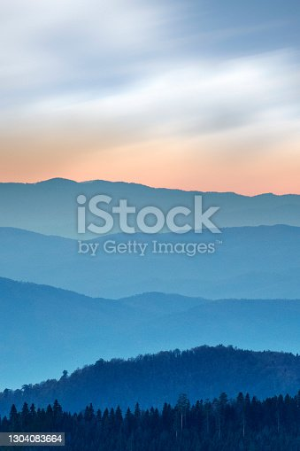 Foggy sunrise in the mountainous region