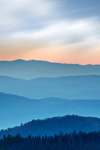 Foggy sunrise in the mountainous region