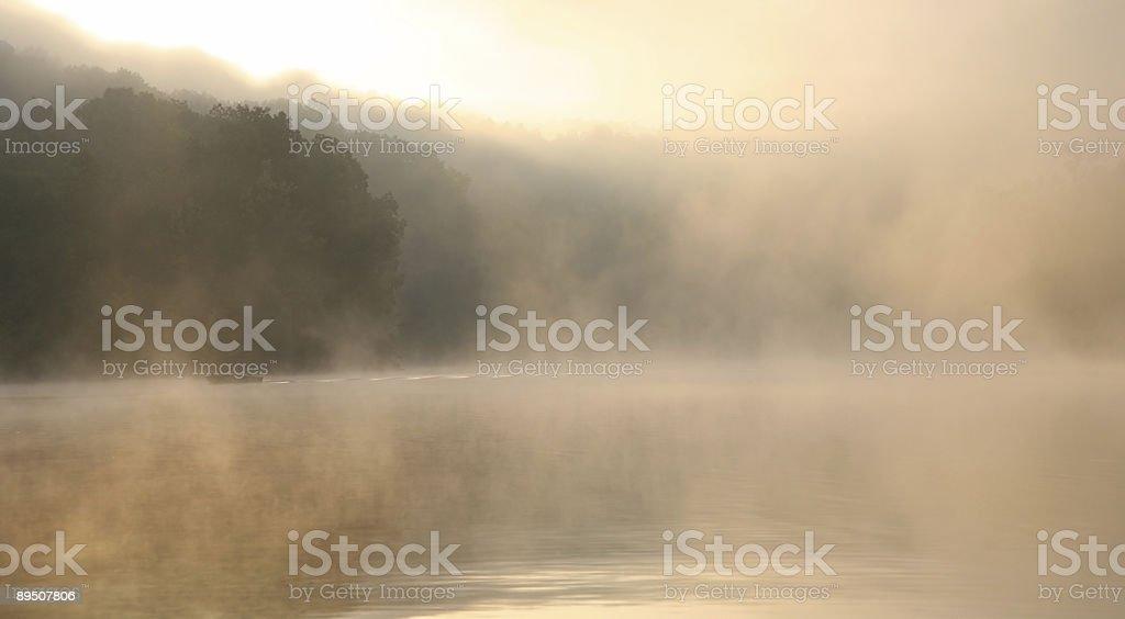 Foggy Sunrise On The Lake royalty-free stock photo