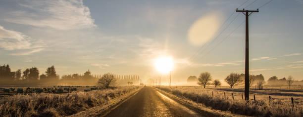 Foggy sunrise. stock photo