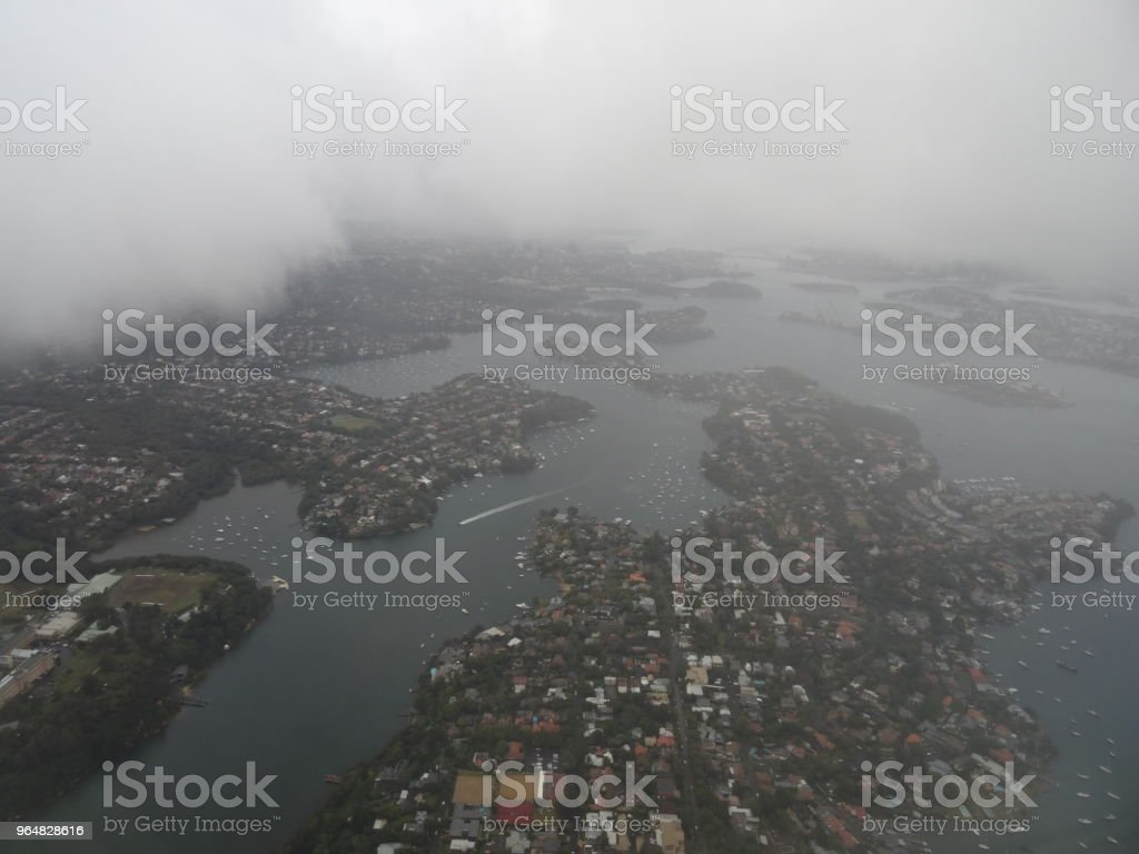 Foggy Sydney aerial view royalty-free stock photo