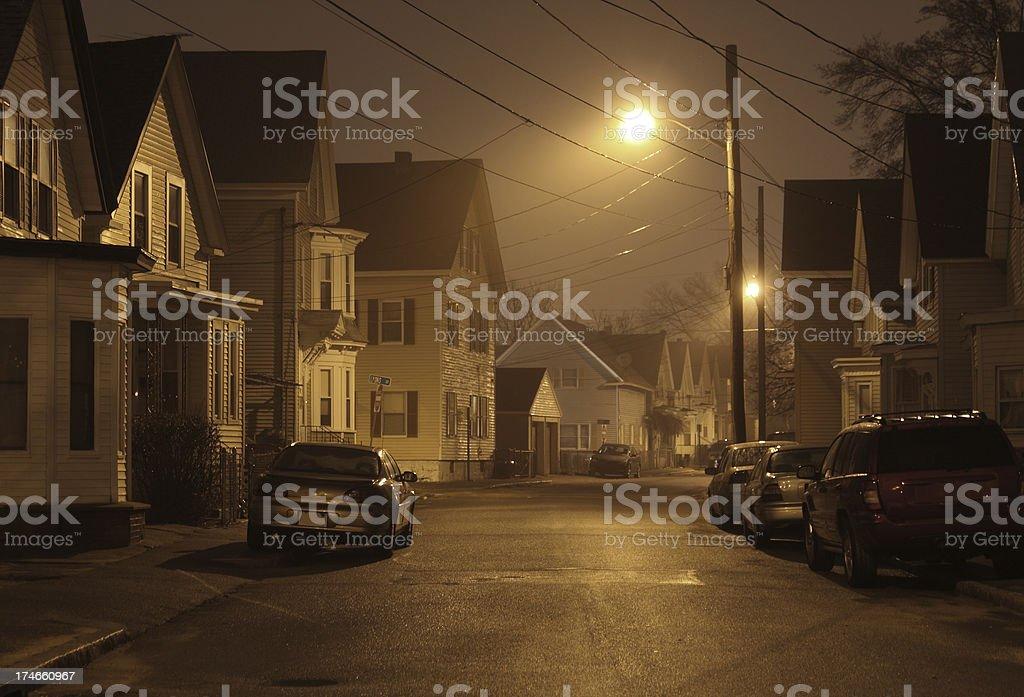 Foggy Urban Neighborhood at Night stock photo