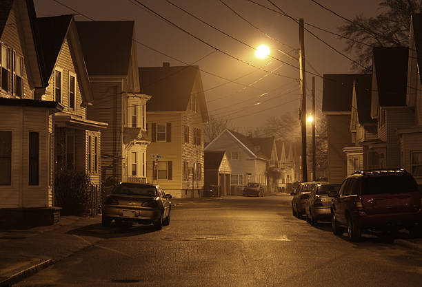 Suburban Street Night Stock Photos, Pictures & Royalty