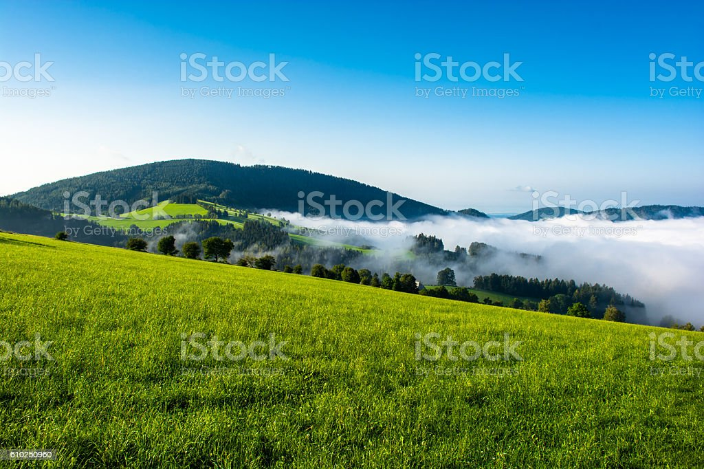 Foggy valley in Styria in Austria stock photo