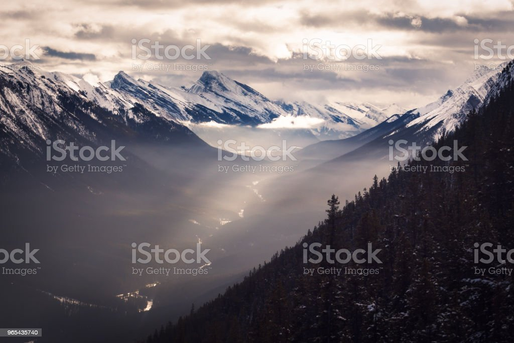 Foggy valley in the Rocky Mountains royalty-free stock photo