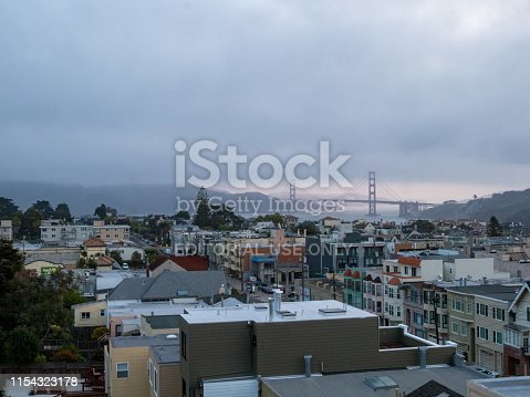 San Francisco, CA AUGUST 12, 2018: Foggy view of Golden Gate Bridge and Marin Headlands from west side of city