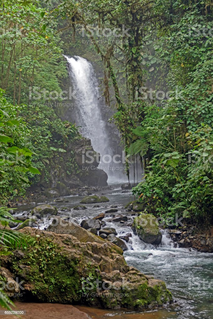 Foggy Waterfall in the Tropics stock photo