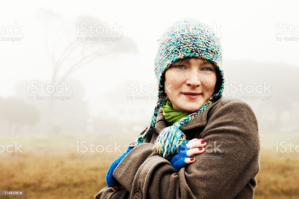 Foggy winter girl royalty-free stock photo