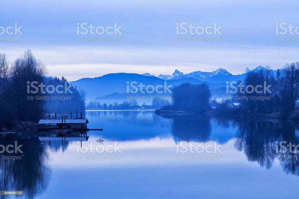 Foggy Winter morning at Fraser River, BC, Canada stock photo