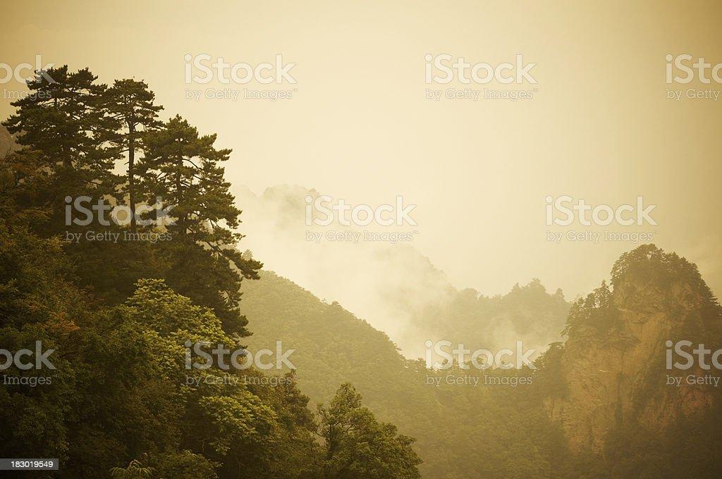 Foggy Wudang Shan mountains. royalty-free stock photo