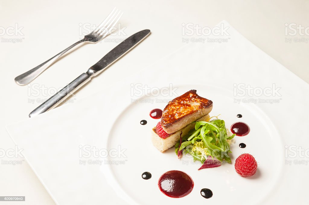 Foie gras on dining table stock photo