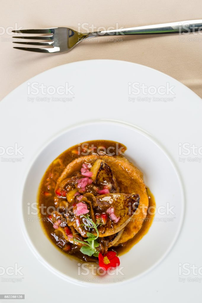 foie gras with fig sauce stock photo